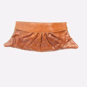 Lauren Merkin Brown Leather Clutch EUC